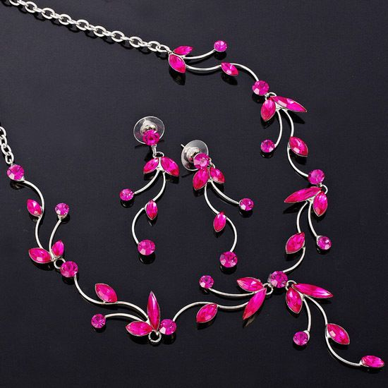 Wedding Jewelry Set Necklace Earrings Gold Plated Rose Red Marquise