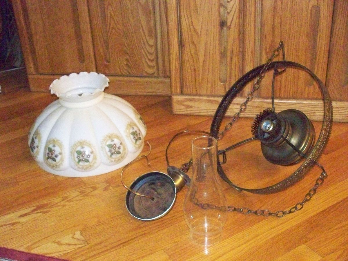 Collectibles Vintage Brass Milk Glass Hanging Lamp