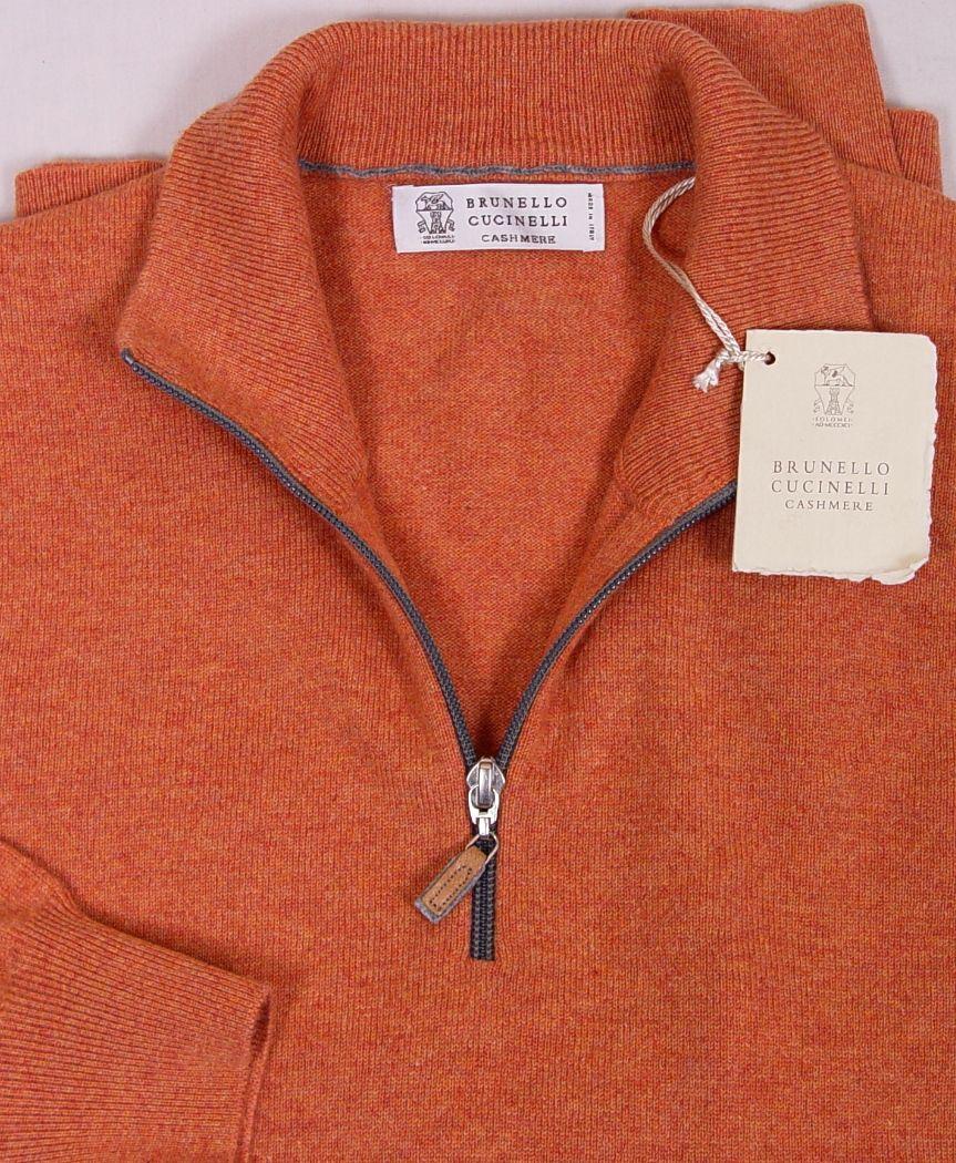 Brunello Cucinelli Sweater Orange 100 Cashmere 1 2 Zip Pullover Jumper