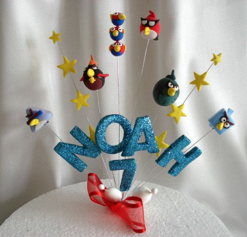 ANGRY BIRDS SPACE STARS WIRED BIRTHDAY CAKE TOPPER ANY NAME AGE