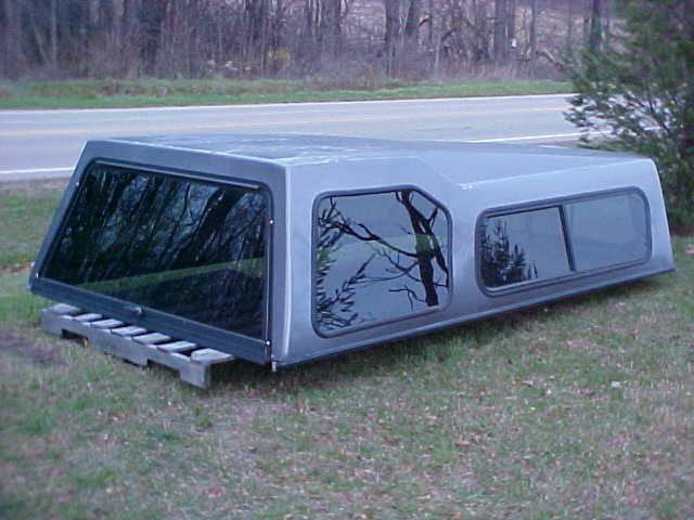 Fiberglass Camper Tops : Fiberglass camper shell top for long bed pickup truck ford