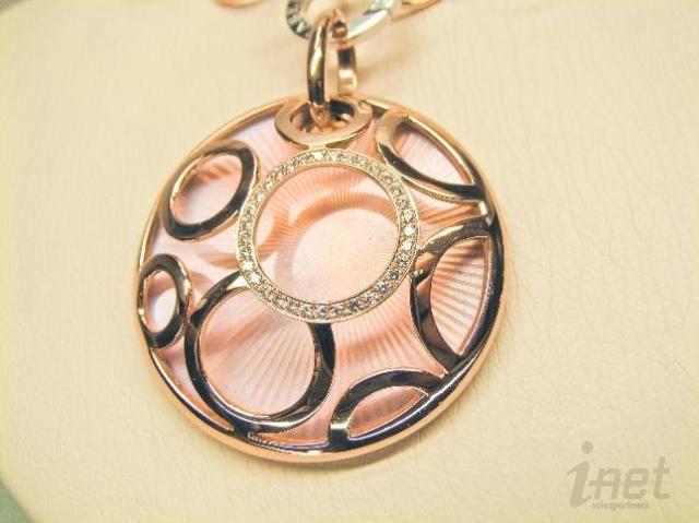 18K Rose Gold Pink Enamel Diamond Pendant Necklace 88 grams NEW $24300