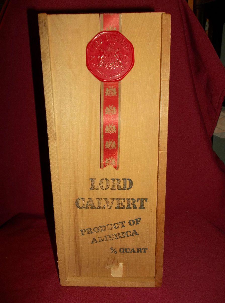 Wooden Lord Calvert Box Vintage Advertising Box Whiskey Distillary