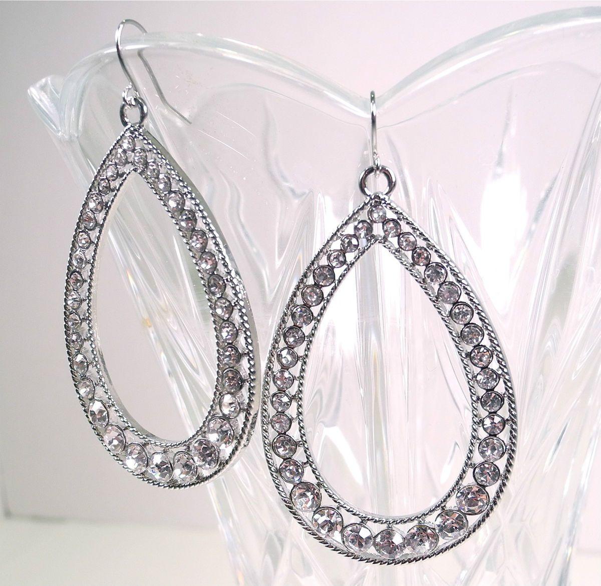 New Guess Silver Crystal Rhinestone Teardrop Earrings