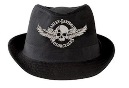 HARLEY DAVIDSON New MENS Black FEDORA HAT HD 437