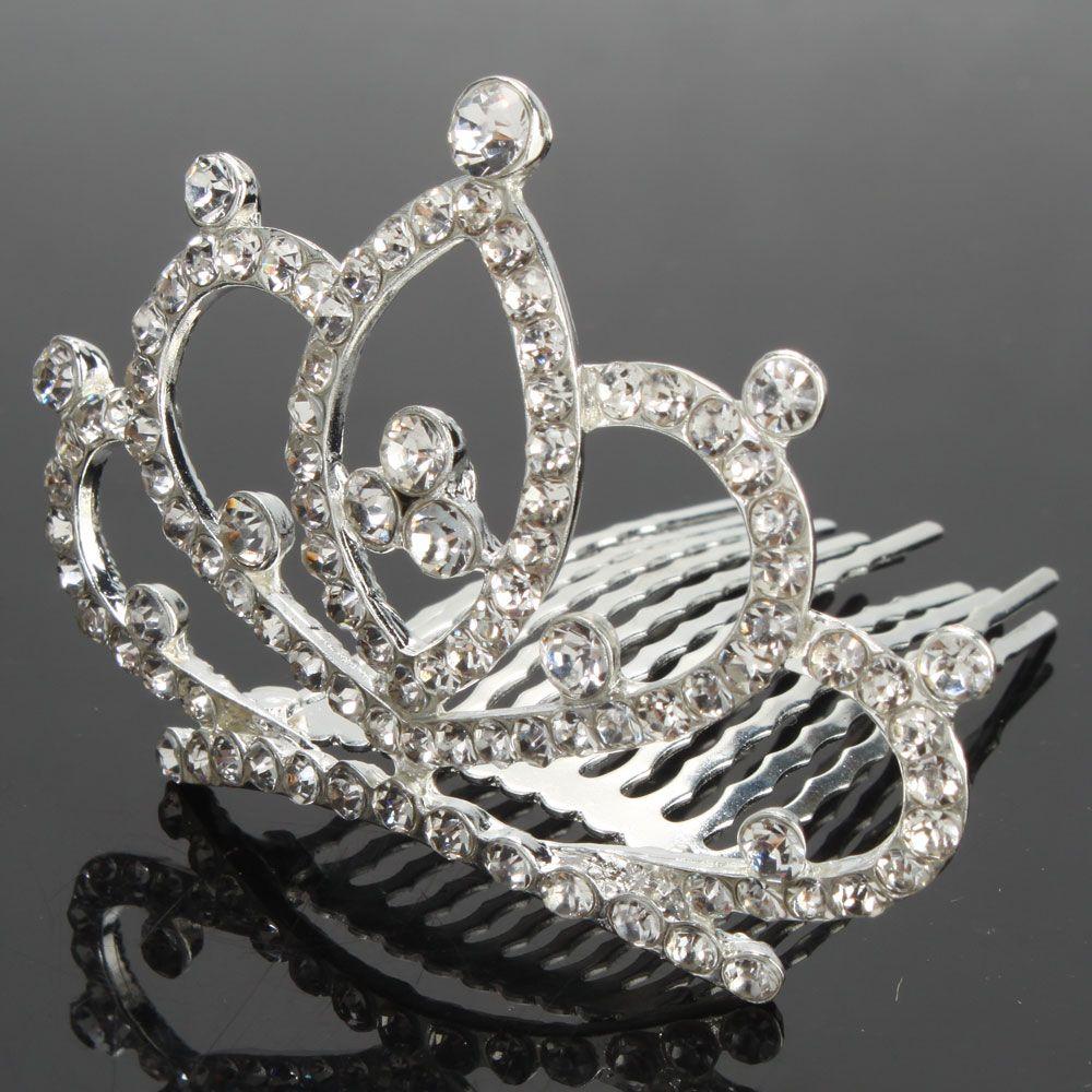 New Heart Style Rhinestone Crown Hair Comb Pin 03 Fashion Wedding