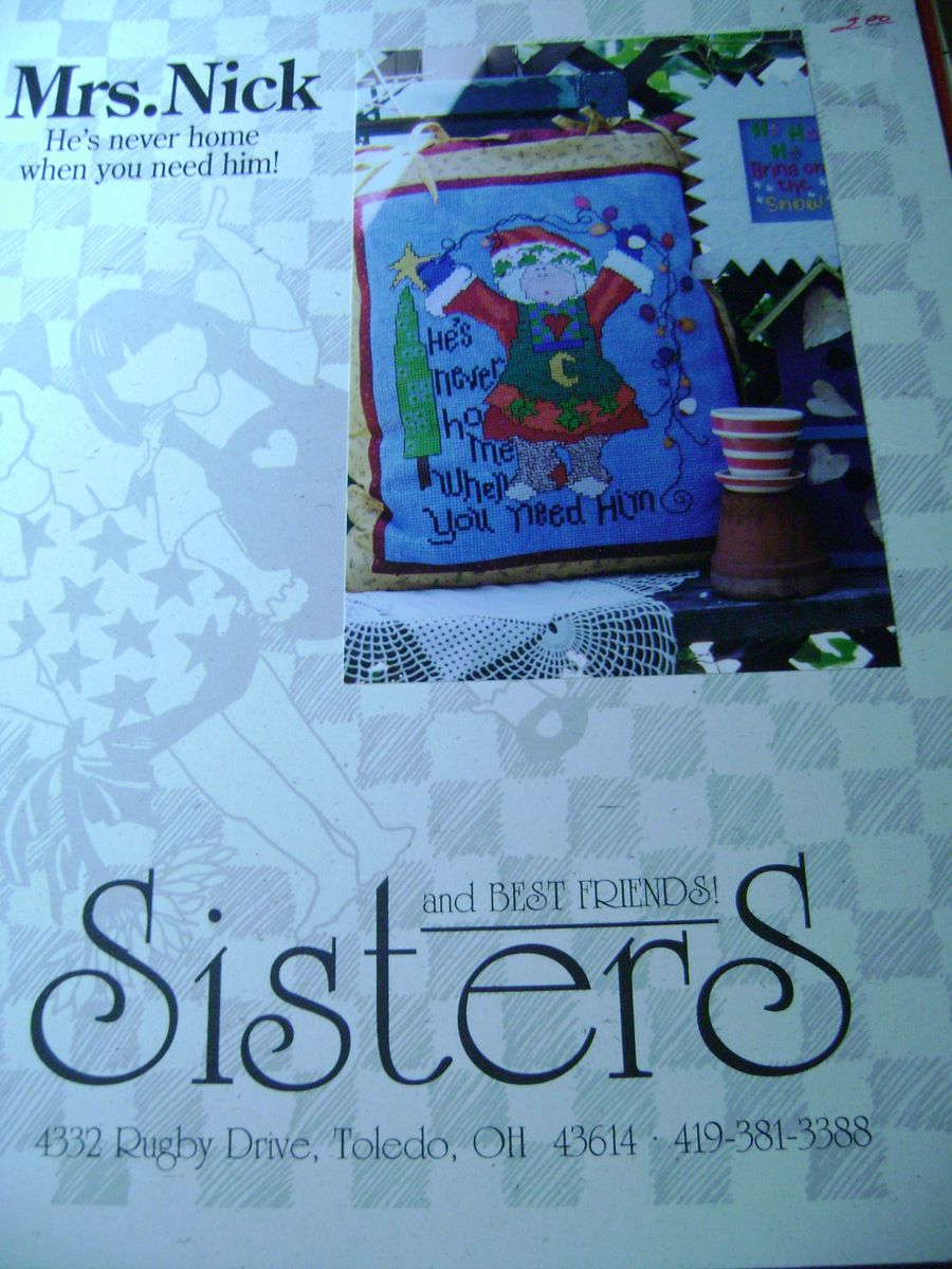 Mrs Nick Cross Stitch Sisters and Best Friends