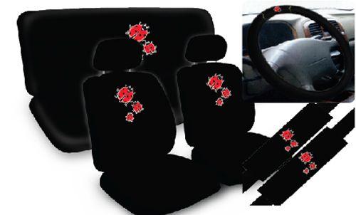 Ladybug Red Bug Cute Print Design Complete Car Seat Cover Full Set Std