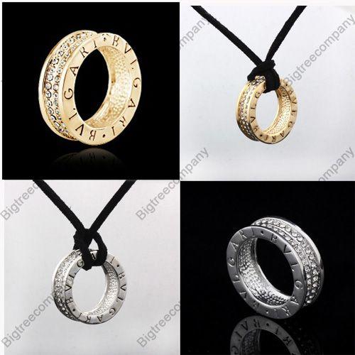 18K White Gold Plated Swarovski Crystal Ring Pendant Black String