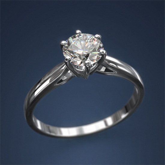 White Gold Diamond Solitaire Ring 1 25 Carat F SI1 14 K Wedding