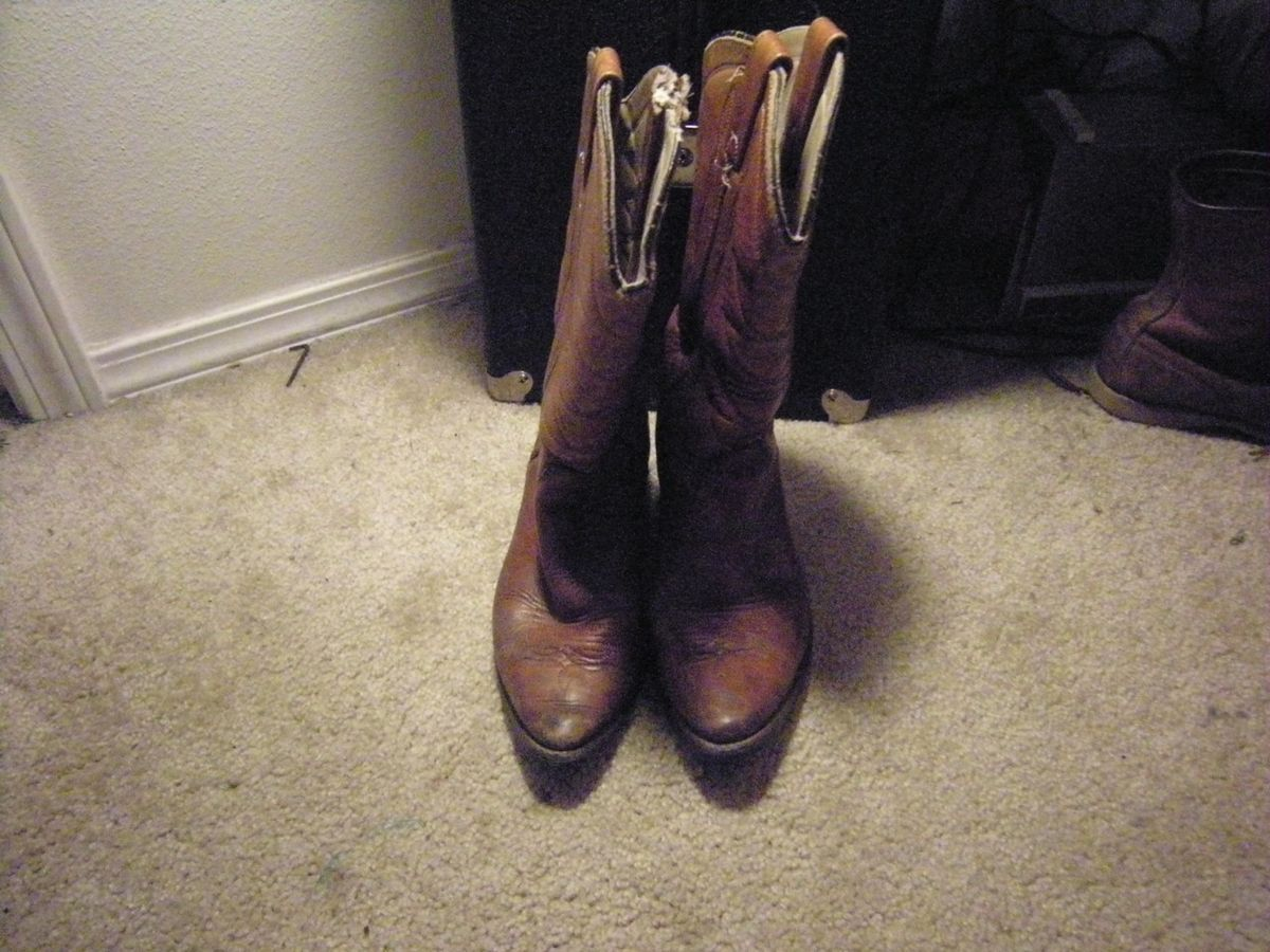Womens Double H HH Brown Roper Western Cowboy Boots 7 1 2 M
