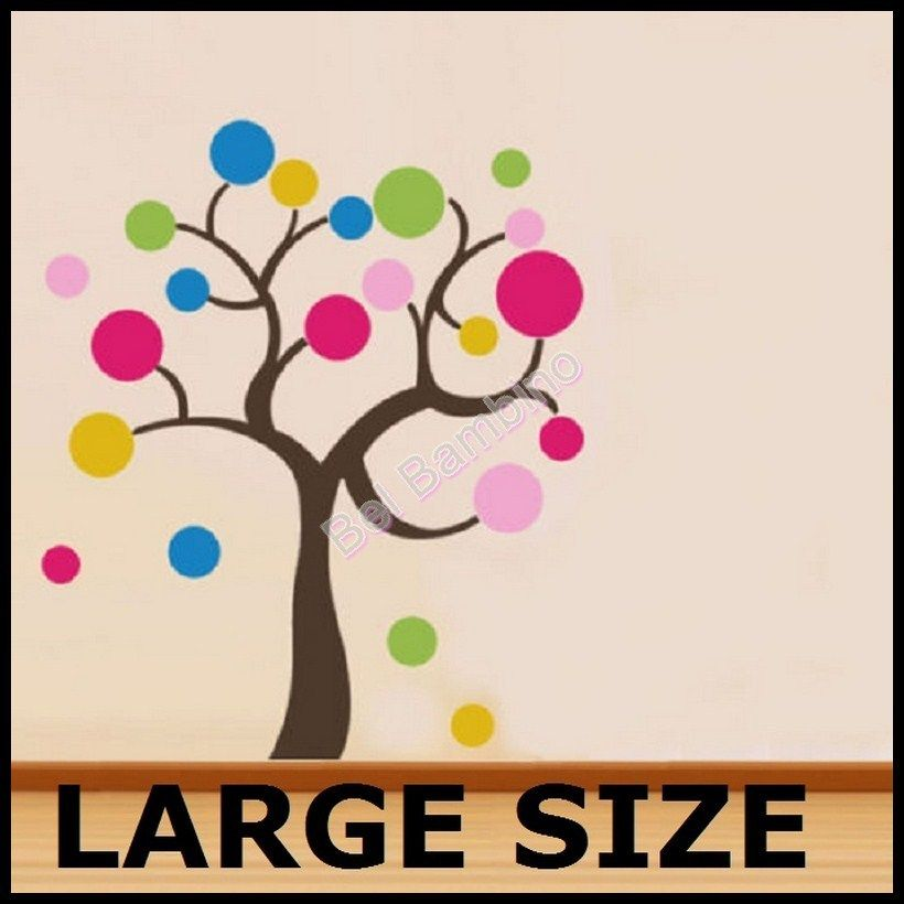 LARGE SIZE POLKA DOT SPOT TREE Removable Wall Stickers Decals Kids