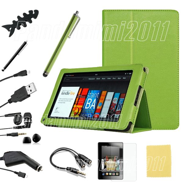 For Kindle Fire PU leather Case Cover Car Charger USB Cable Stylus P