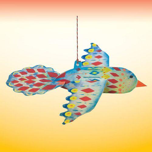 eeBoo Blue Floating Bird Durable Cardboard Decoration   approx 11