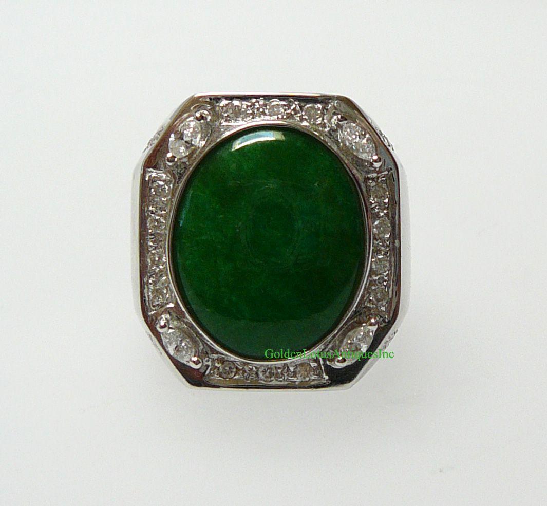 18K White Gold Oval Green Jadeite Octagon Man Ring J101