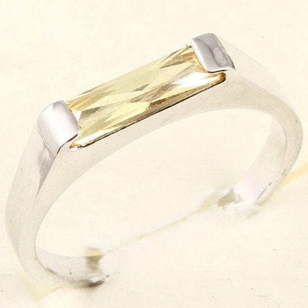 3x10mm Emerald Cut Yellow Sapphire 3 Ring