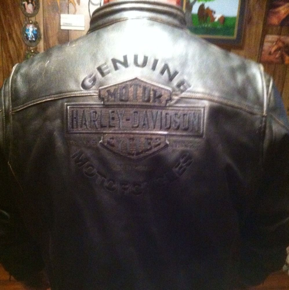 Mens 4XL Harley Davidson Leather Motorcycle Jacket