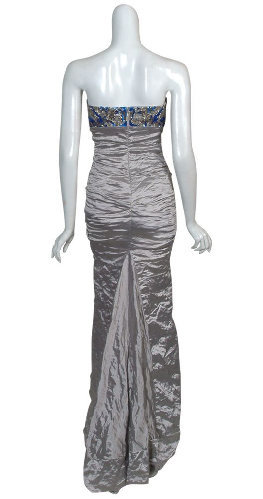 Nicole Miller Beaded Crinkle Satin Eve Gown Dress 6 New