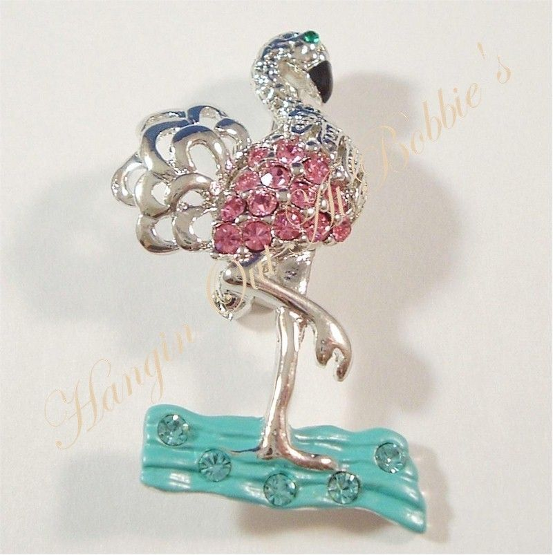 Flamingo Tropical Pink Aqua Crystal Pin Brooch Silver