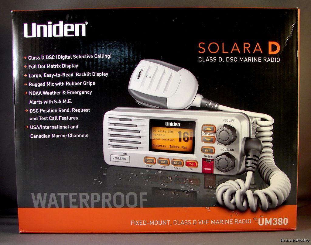 Uniden UM380 White Full Featured Fixed Mount VHF Marine ...