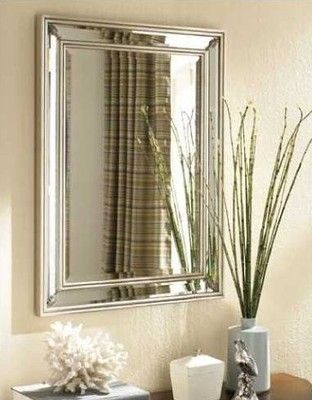 Large Dazzling Silver Leaf Frameless Wall Mirror Vanity Mantle