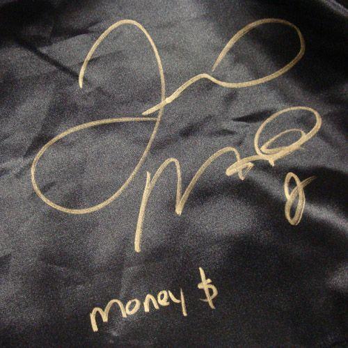 Floyd MAYWEATHER Jr Autographed Signed Black Boxing Trunks Gold Money
