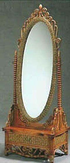 Rattan Victorian Full Length Oval Mirror