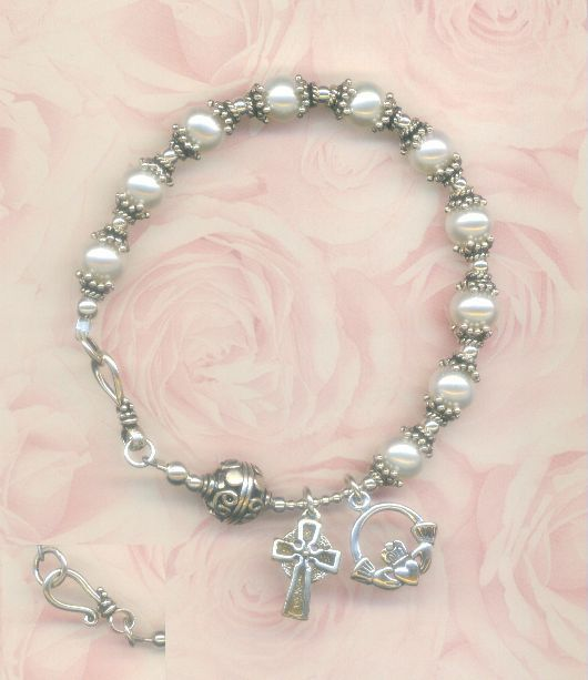 Irish Sterling Silver Celtic Cross Claddagh Pearl Rosary Bracelet 7 5