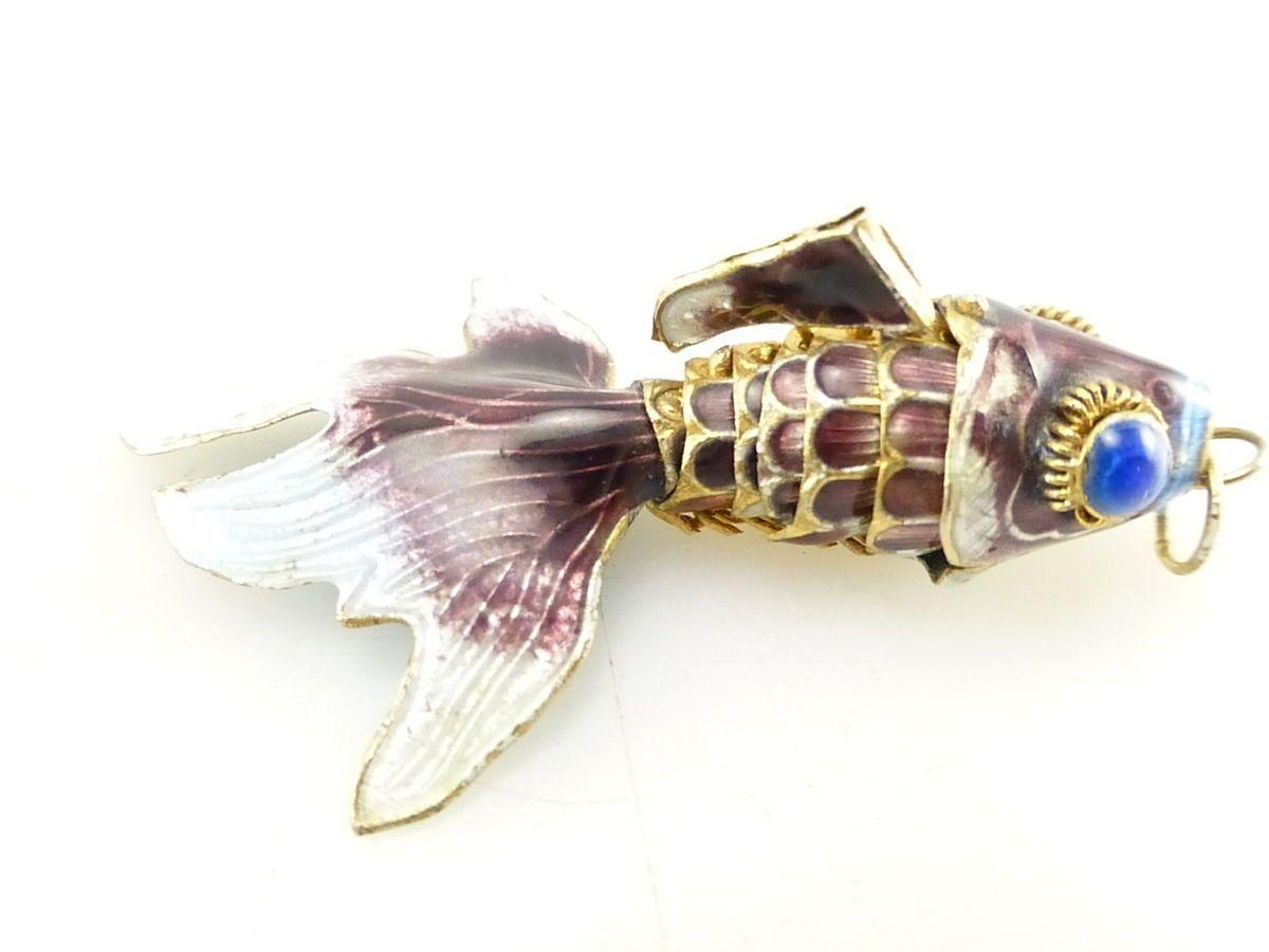 Articulated Purple & Blue Enamel Koi Fish Gold Fish Necklace Pendant R