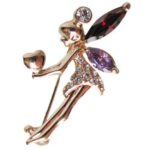 heart angel brooch pin gold GF Authentic swarovski crystal