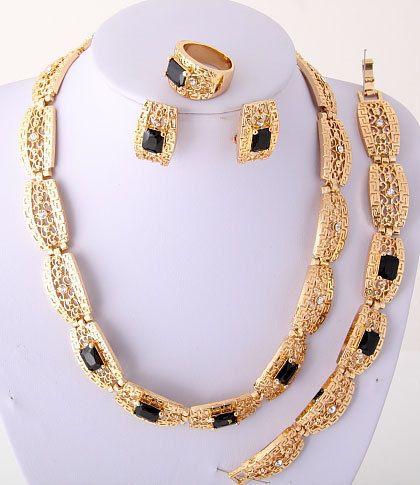 Black Gold Plated Necklace Bracelet Earring Ring Set