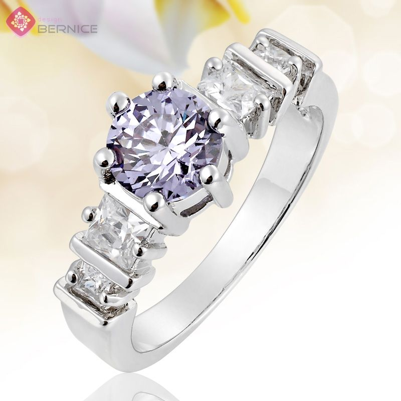 Tanzanite Rhinestone White Gold Plated Engagement Ring Size 8 Q