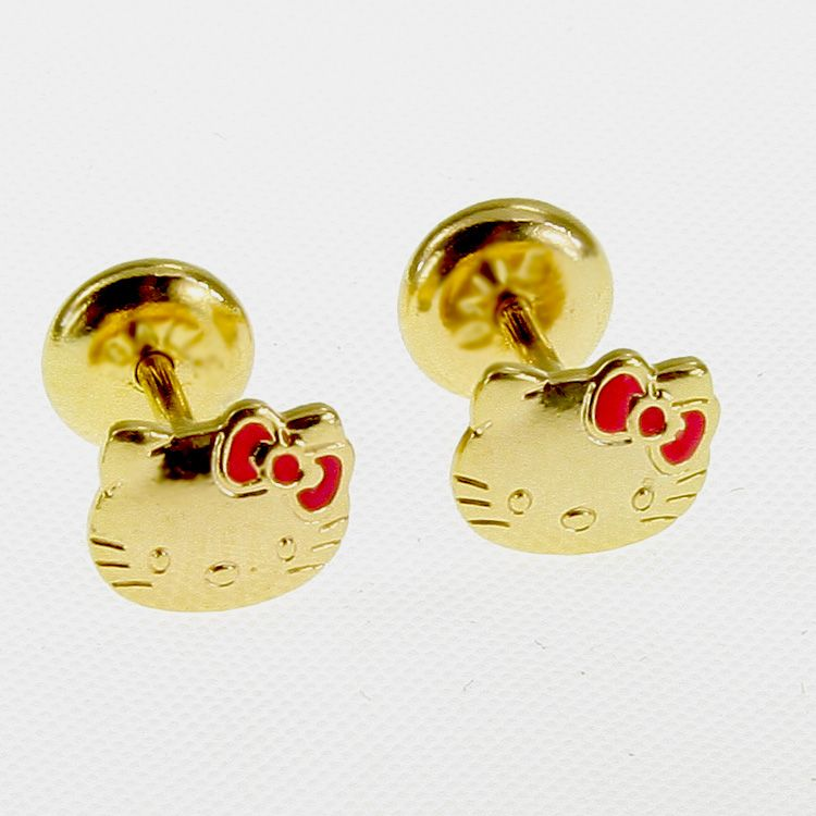You are bidding on a beautiful Hello Kitty Gold Filled 18k Earrings