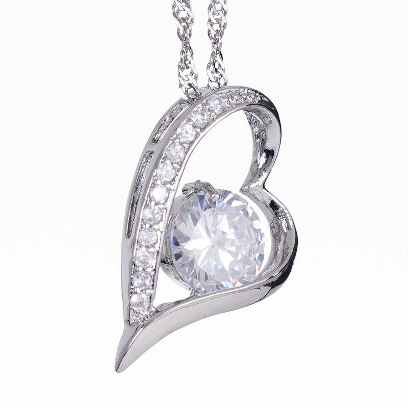 Lady Jewelry Free Chain White Topaz Rhinestones White Gold Pendant
