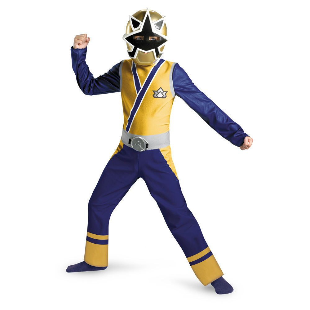 Power Rangers Samurai GOLD Ranger Costume M 7 8 Boys Child Kids