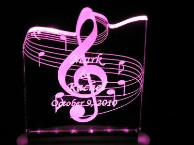 Personalized Birthday or Any Occasion Music Cake Topper Optional LED