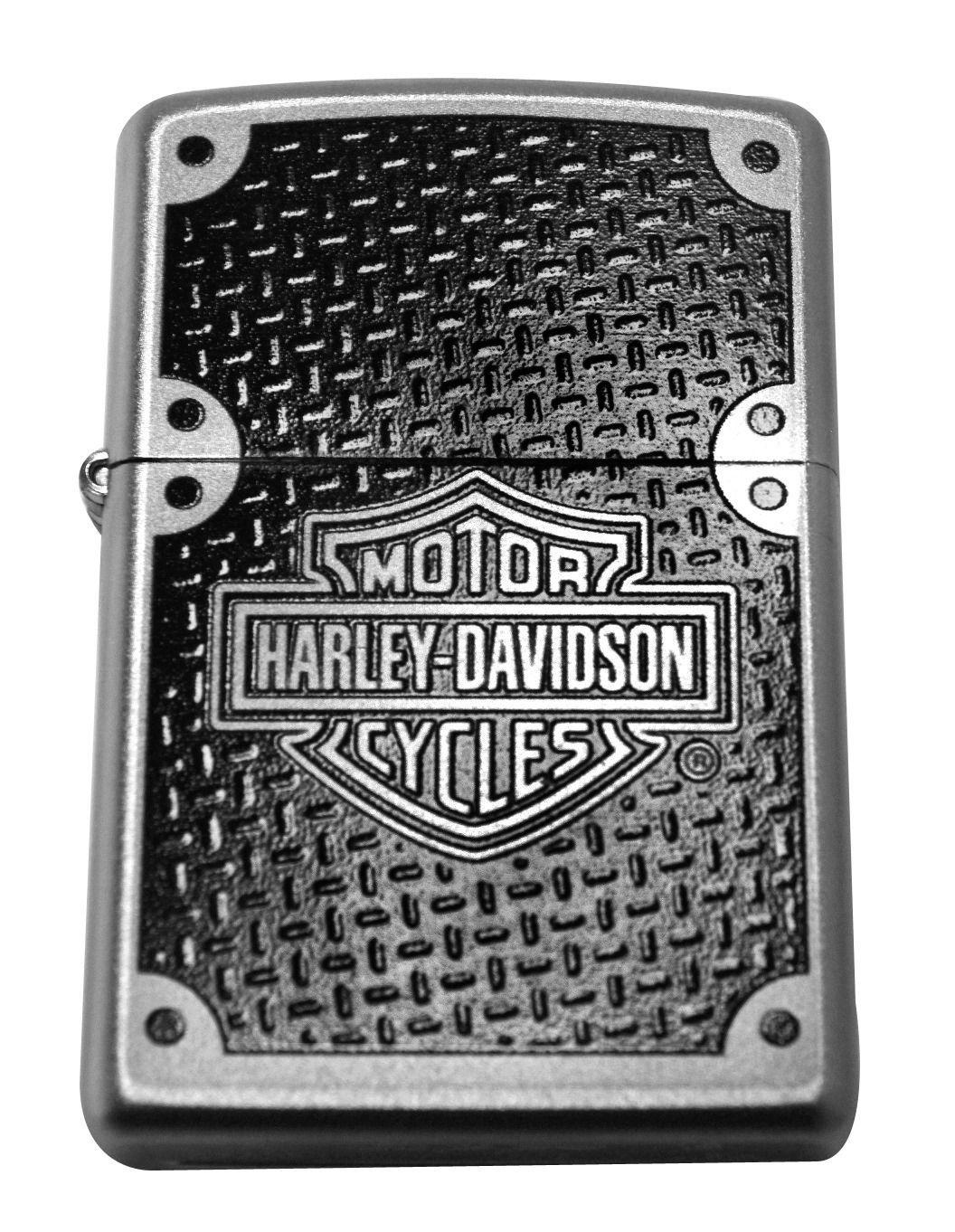 Zippo lighter 24025 harley davidson carbon satin chrome windproof NEW