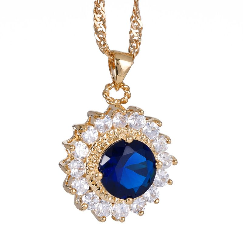 Fashion Lady Jewelry Round Cut Blue Sapphire Gold Plated GP Pendant