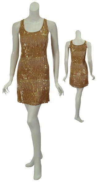 Haute Hippie Suntan Silk Beaded Tank Dress Large New