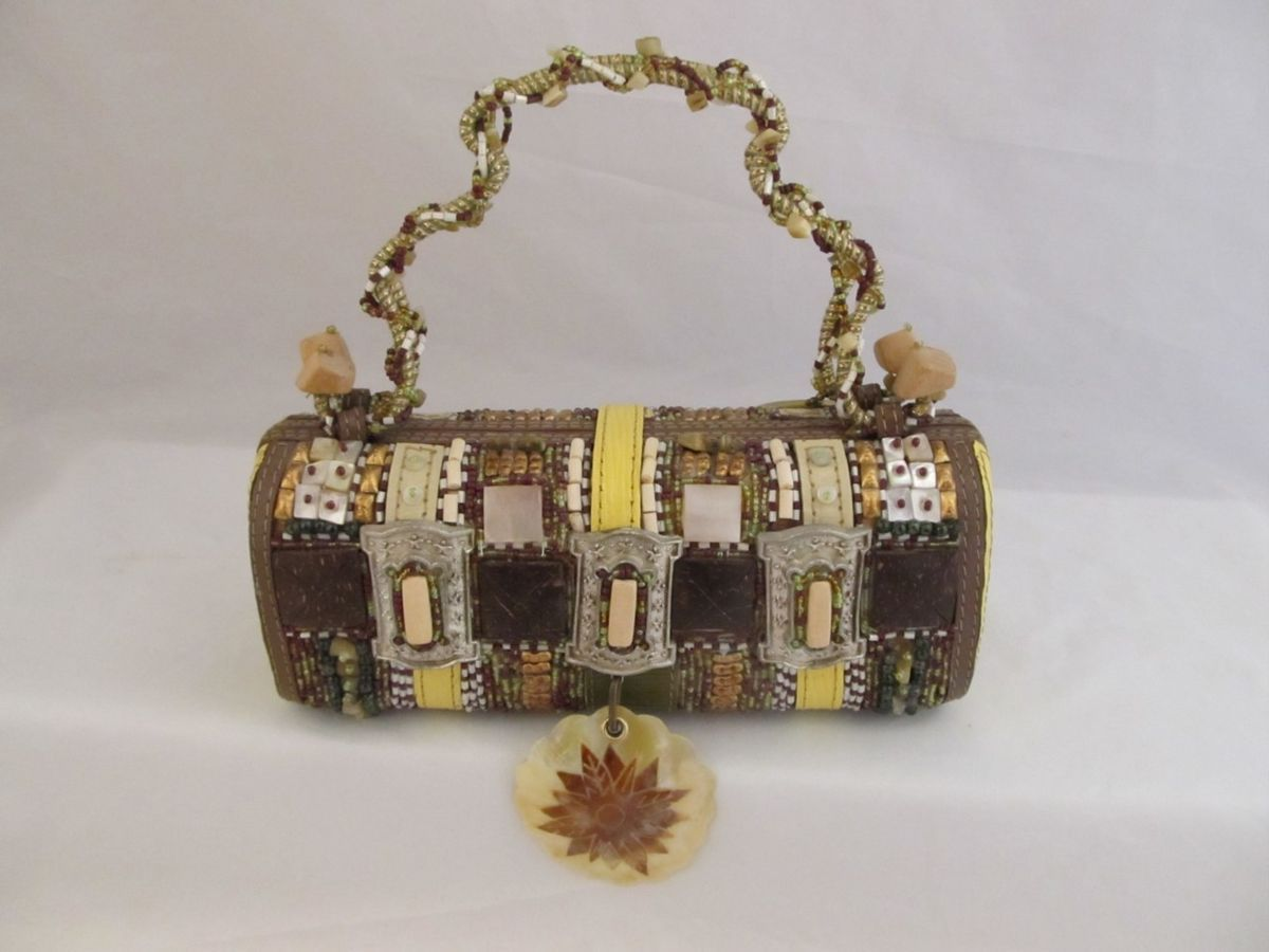 Mary Frances Beaded Gold Hard Body Brown Shell Purse Handbag Excellent