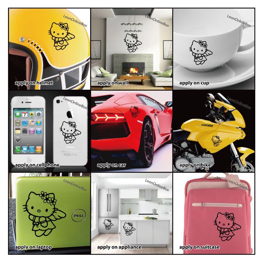 Hello Kitty Angel   Cartoon Decal Vinyl Car Wall Laptop Cellphone