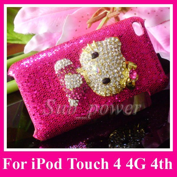 3D Rhinestone Hello Kitty Bling Crystal Case Cover for Apple iPod