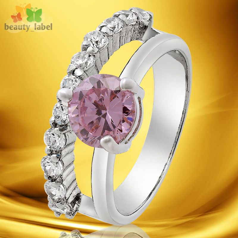 Fashion Women Jewelry 18K White Gold Plated Round Cut Stone Engagement