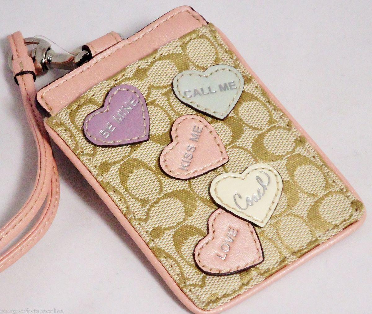Coach ID Badge Lanyard Candy Heart FREE SHIP Card Holder Case PINK NWT