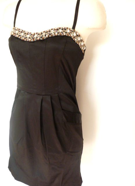 Black Jewel Beaded Rhinestone Satin Pocket Mini Dress L