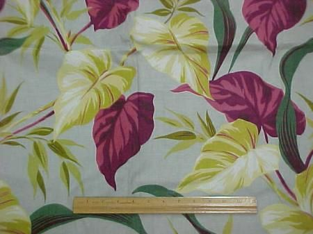 Vintage 1940s 1950s Tropical Print Cotton Fabric Drapery Panel