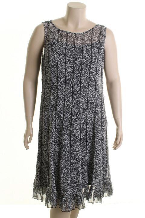 Jessica Howard Black White Printed Sleeveless Scoop Neck Casual Dress