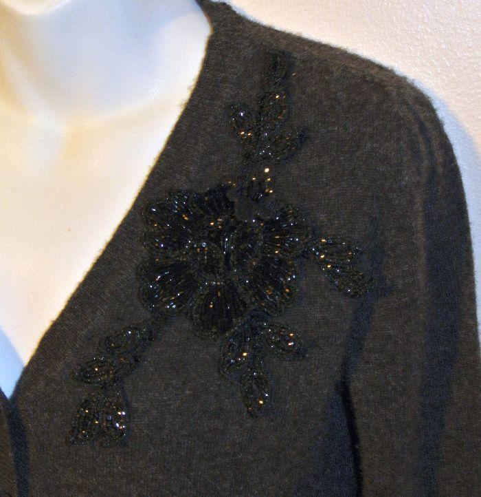 BLUMARINE Charcoal Gray Cashmere Beaded Flower Applique Cardigan