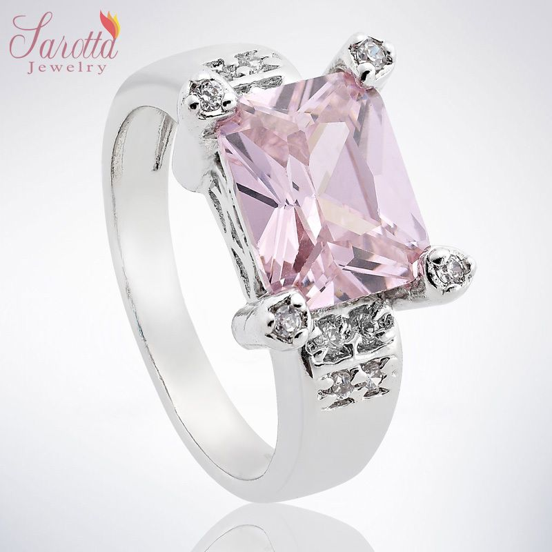 FASHION JEWELRY PINK SAPPHIRE WHITE GOLD GP COCKTAIL GEM RING SIZE 8 Q