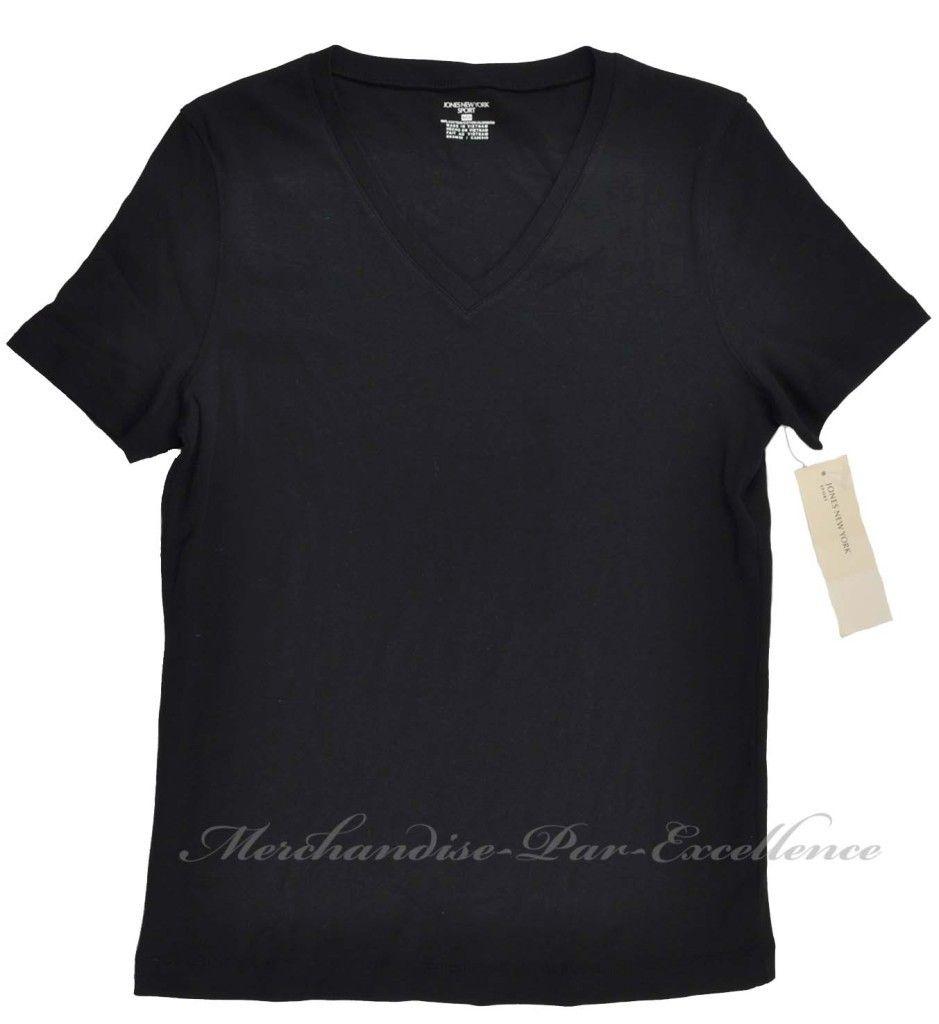 New Womens Jones New York Sport V Neck T Shirt Top Short Sleeve Black Size S